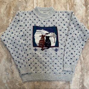 Woolrich Vintage Wool Blend Cat Sweater size L Large